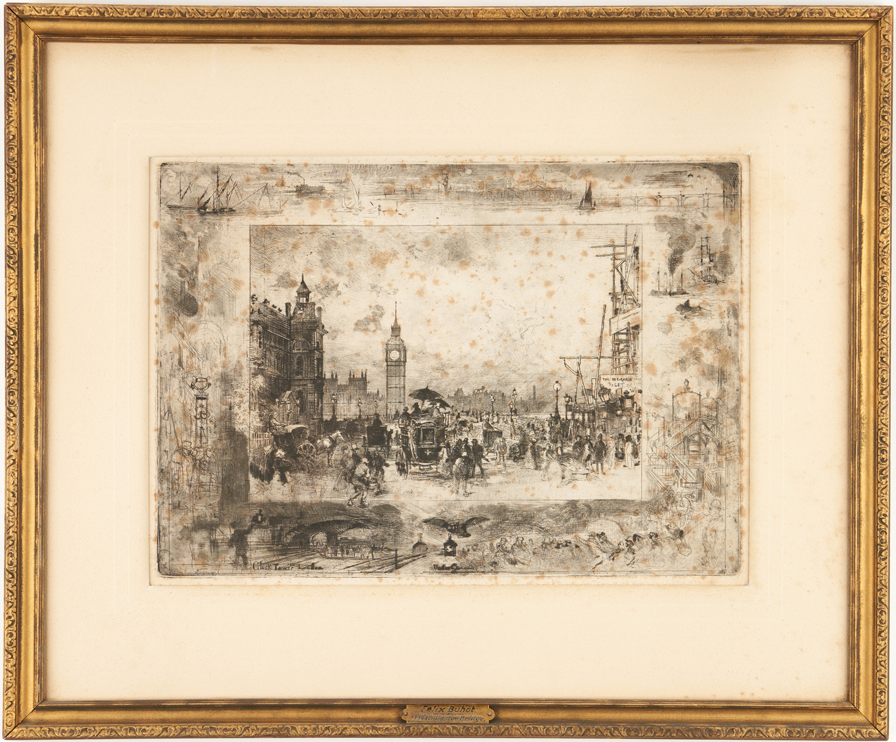 Lot 966: Felix Buhot Etching, Clock Tower London
