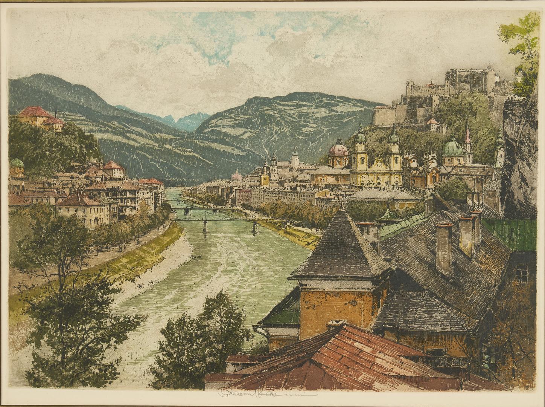 Lot 967: 3 Colored Etchings by Luigi & Robert Kasimir European Scenes