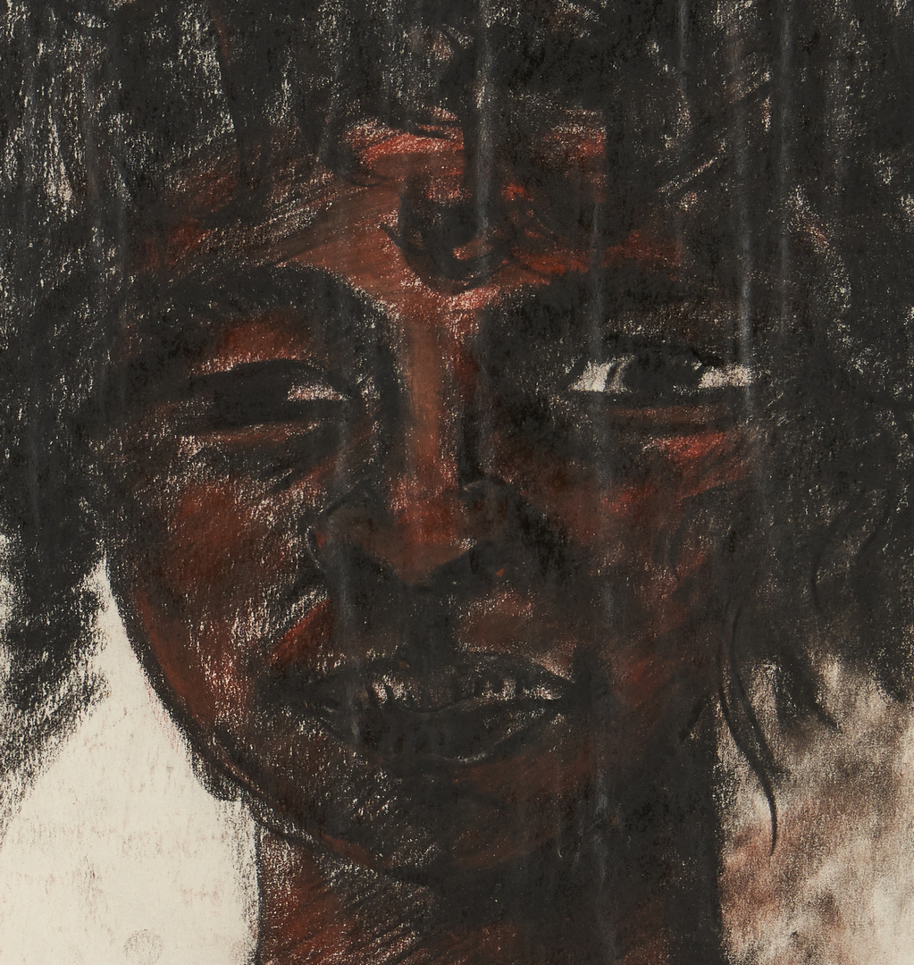 Lot 968: Attr. Charles Cutler, Portrait on Paper of an African American Girl