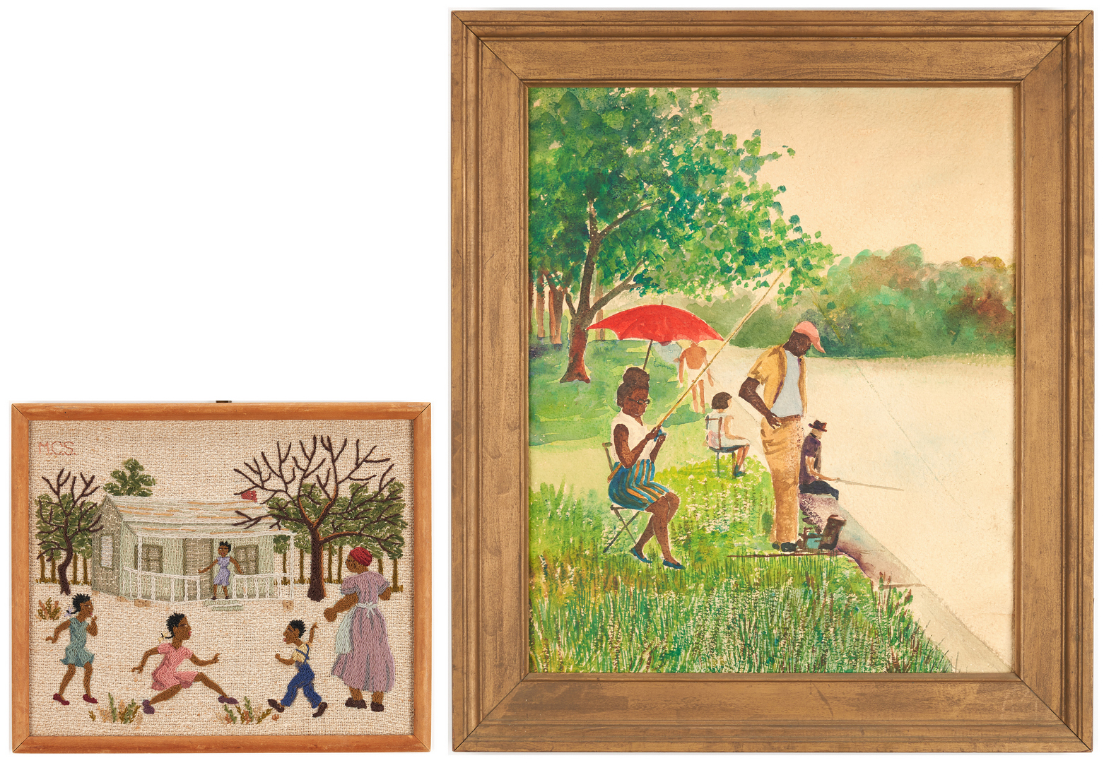 Lot 969: 2 African American Framed Works