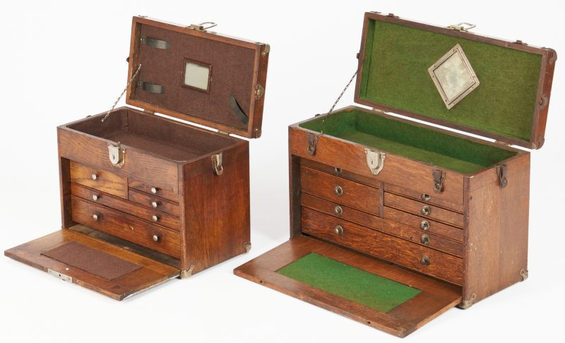 Lot 970: 2 Small Wooden Machinists' Chests
