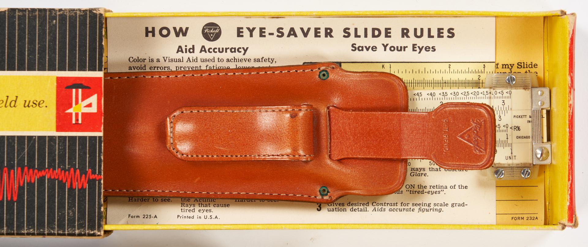 Lot 974: 7 Pickett Boxed Slide Rules, 1 Dealer's Kit