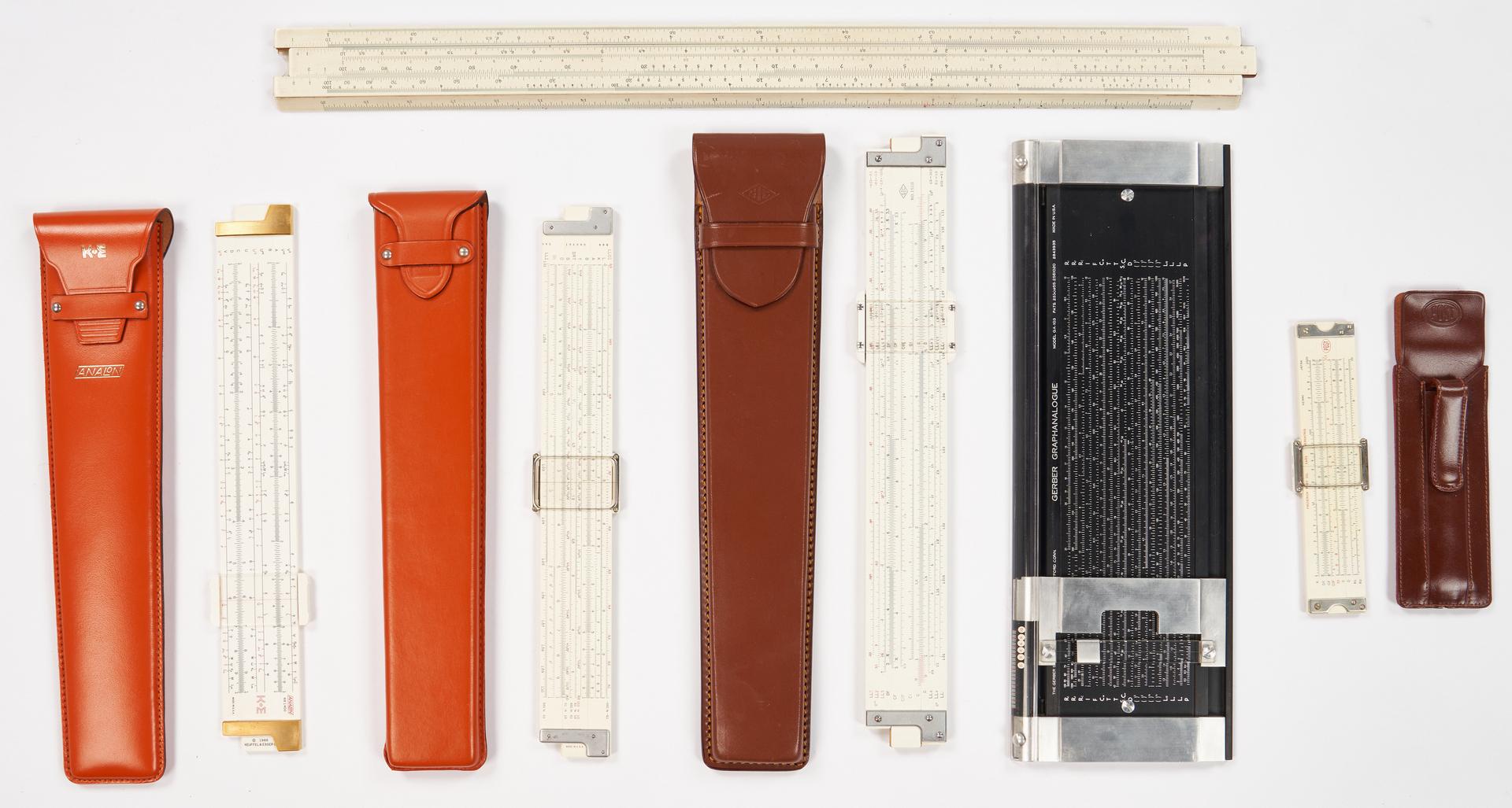 Lot 975: 5 Linear Slide Rules, incl. K&E, 7 items