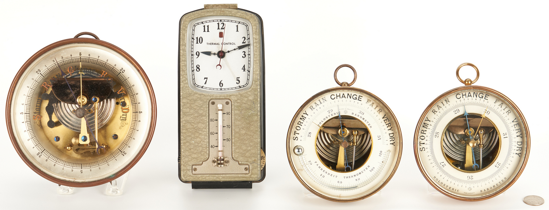 Lot 977: Four Early 20th Cent. Barometers & Thermostat