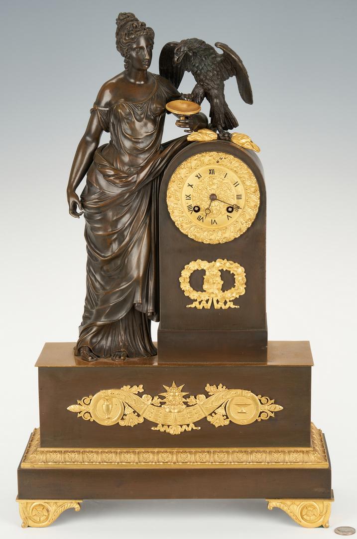 Lot 97: French Empire Figural Gilt Bronze Clock