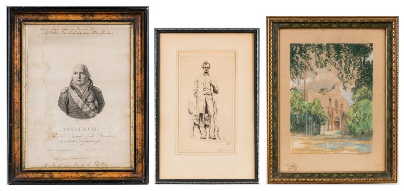Lot 982: 3 Historical Works on Paper inc. Alamo, Lincoln, Louix XVII