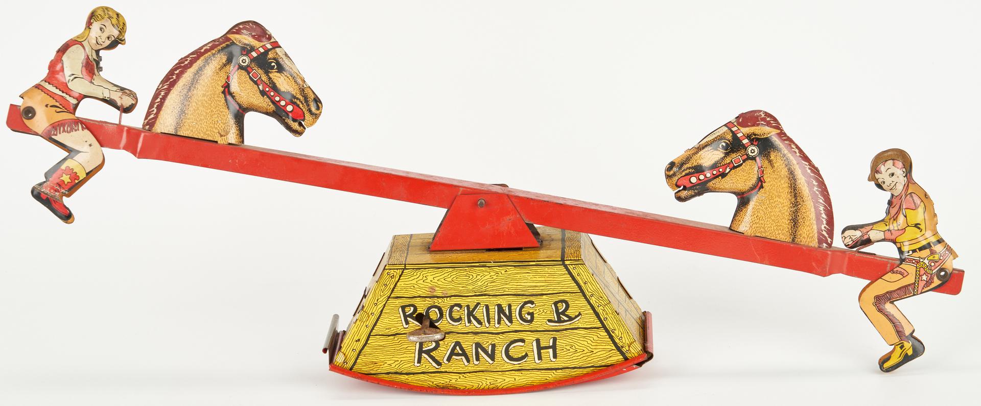 Lot 985: 4 Tin Litho Toys plus 2 Pony Boy Guns, Roy Rogers Holster