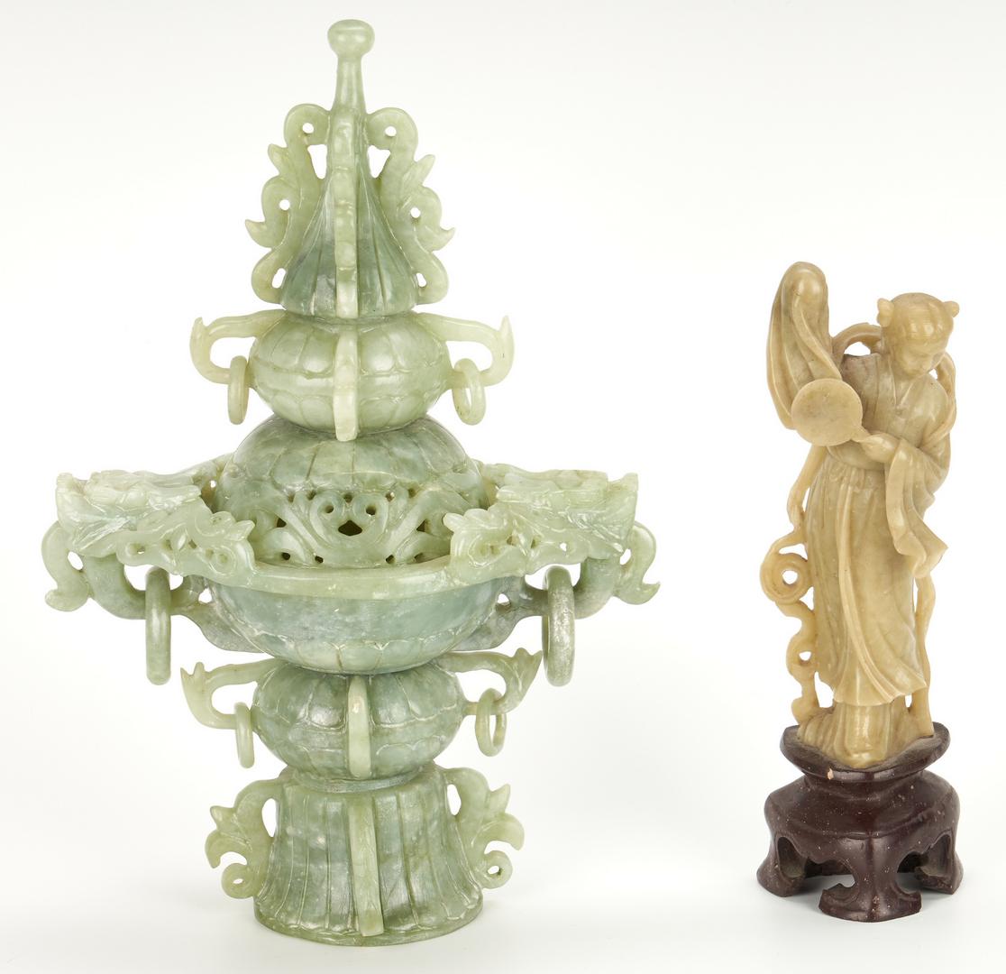 Lot 989: 14 Asian Decorative Items, incl. Porcelain Month Wine Cups
