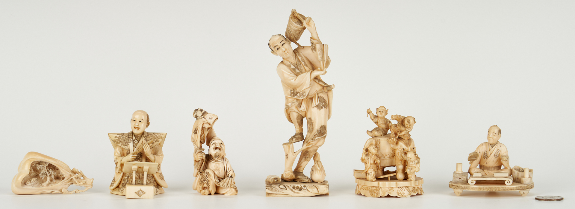 Lot 990: 6 Japanese Carved Okimono Figurals