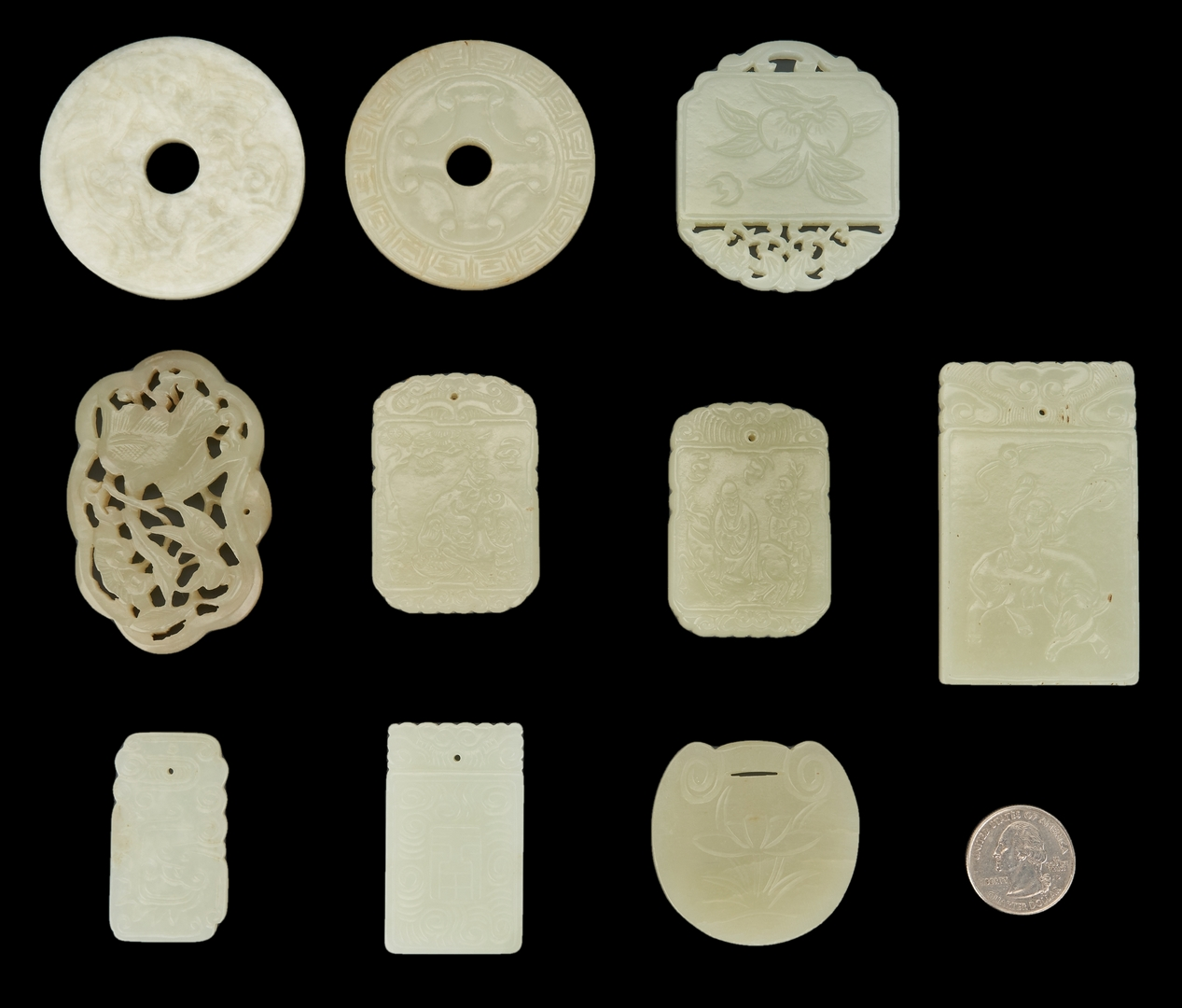 Lot 992: 10 Chinese Carved Jade Items
