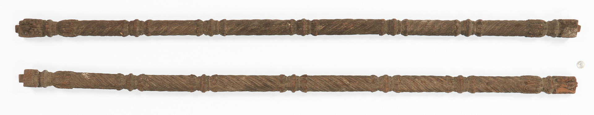 Lot 993: Pr. Carved Wood Temple Door Columns