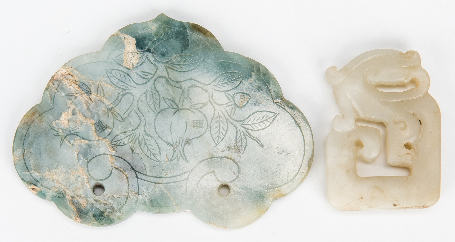Lot 995: Group of 9 carved Jade & Hardstone Items