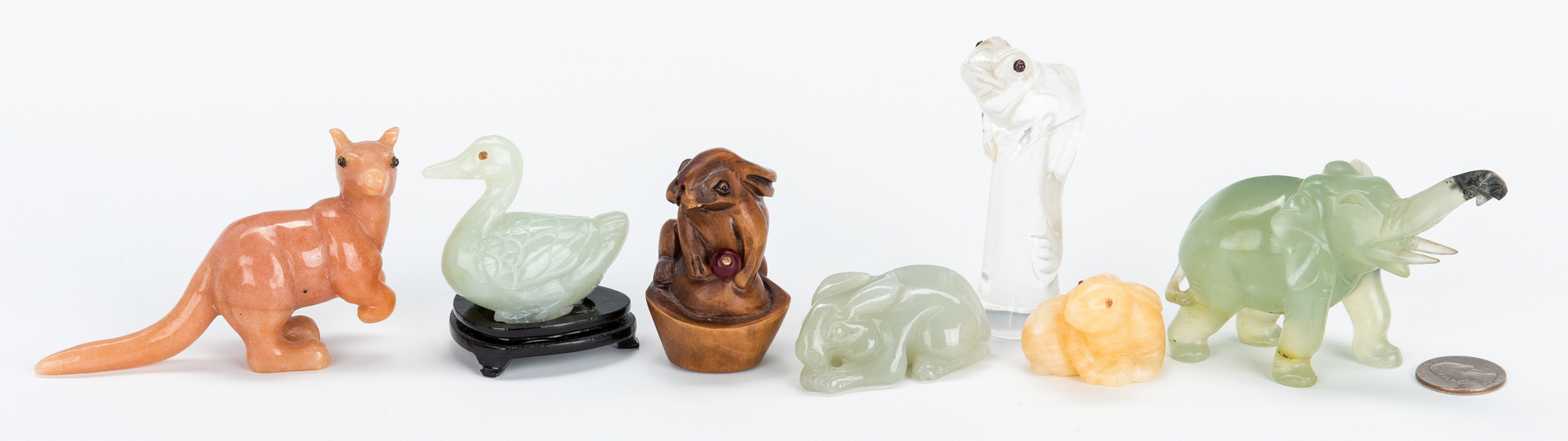Lot 996: 7 Asian Various Stone & Wood Carved Animals