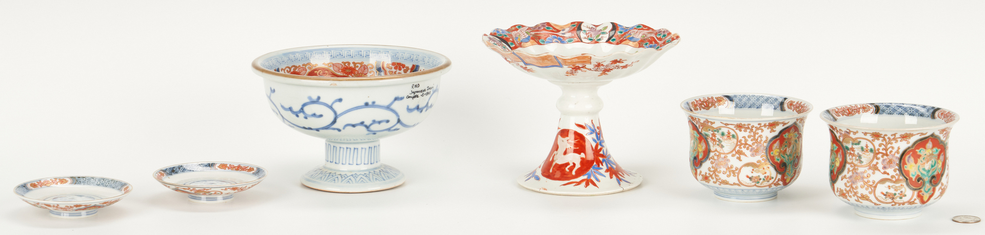 Lot 997: 2 Japanese Porcelain Compotes and Pair Bowls