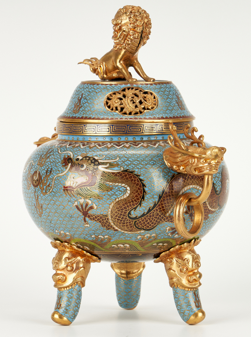 Lot 9: Asian Cloisonne Censer and Plate, 2 items