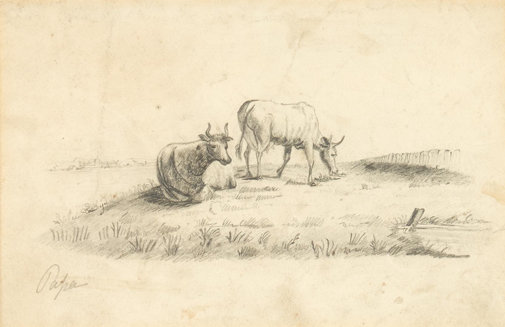 Lot 1001: 3 European Pastoral Works on Paper