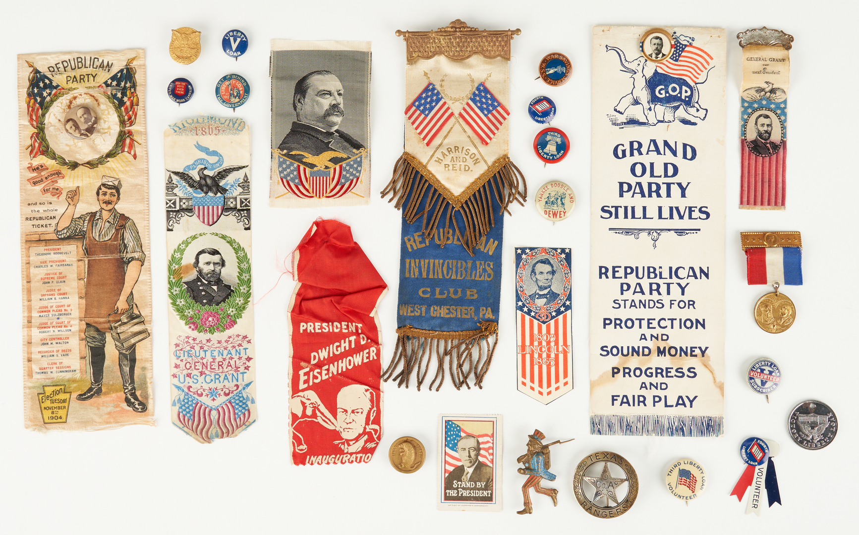Lot 1003: 25 Political Related Items, incl. T. Roosevelt, Grant, B. Harrison
