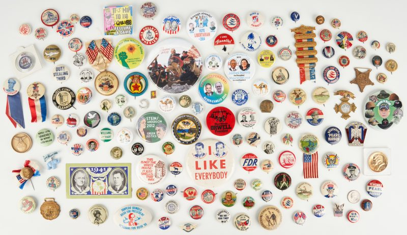 Lot 1005: 144 Political, War, and Misc. Ephemera Items, incl. Buttons