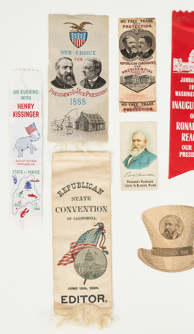 Lot 1007: 10 Political Related Ephemera, incl. B. Harrison