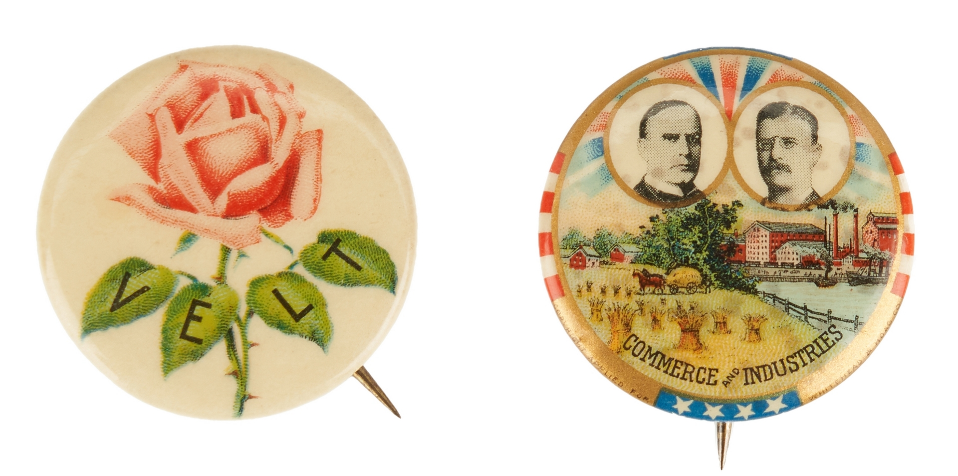 Lot 1008: 2 McKinley and Roosevelt Buttons, incl. Commerce and Industries