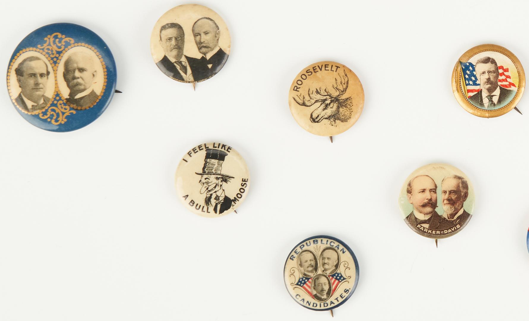 Lot 1009: 28 Political Ephemera Items, incl. McKinley, Roosevelt, Taft