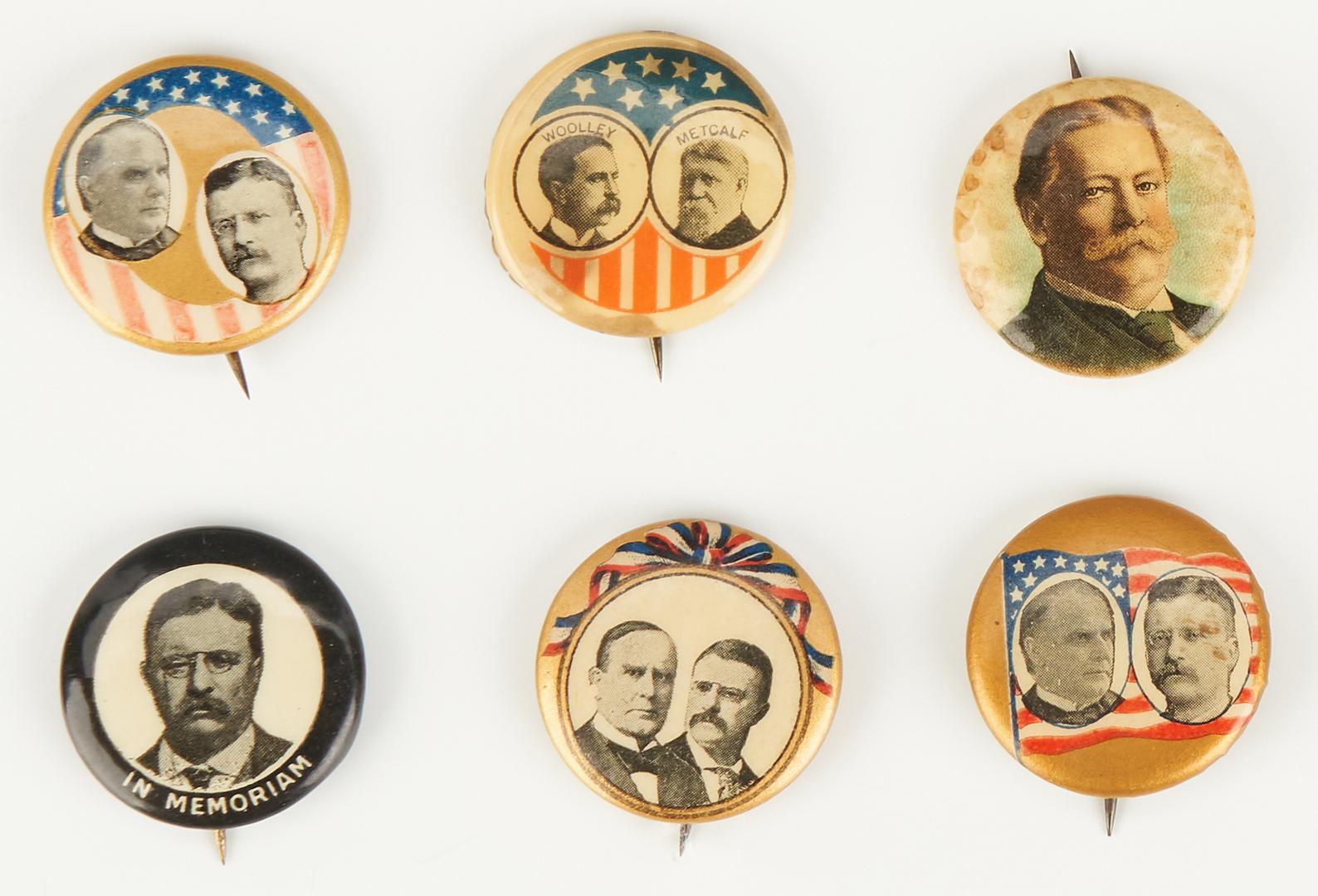 Lot 1010: 18 Political Buttons, incl. McKinley, T. Roosevelt, Taft