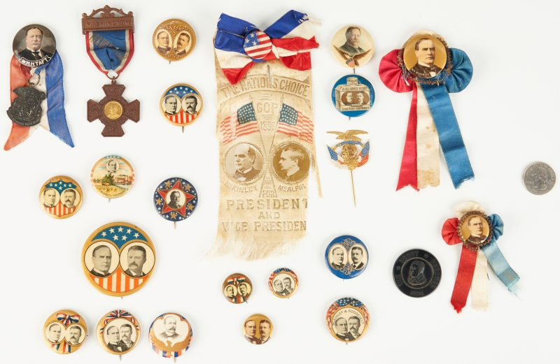 Lot 1011: 23 Presidential Campaign Ephemera Items, incl. McKinley, T. Roosevelt, Taft