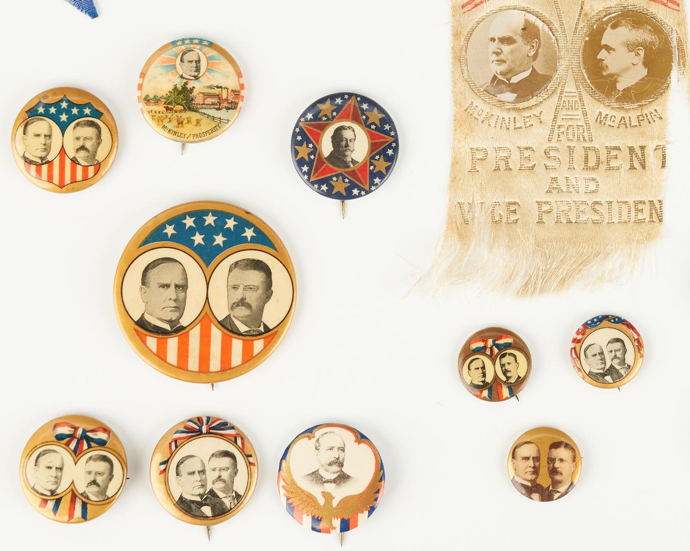 Lot 1011: 23 Presidential Campaign Ephemera Items, incl. McKinley, T. Roosevelt, Taft
