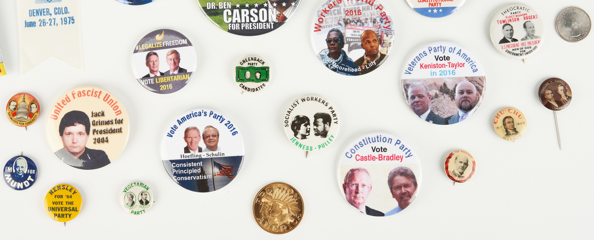 Lot 1017: 30 Third Party Candidate Ephemera Items, incl. Buttons