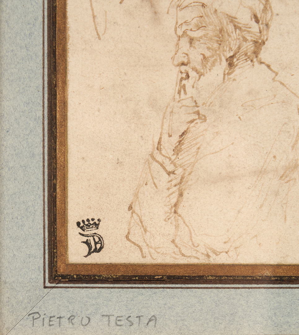 Lot 101: Attr. Pietro Testa, Old Master Pen and Ink Figure Drawing
