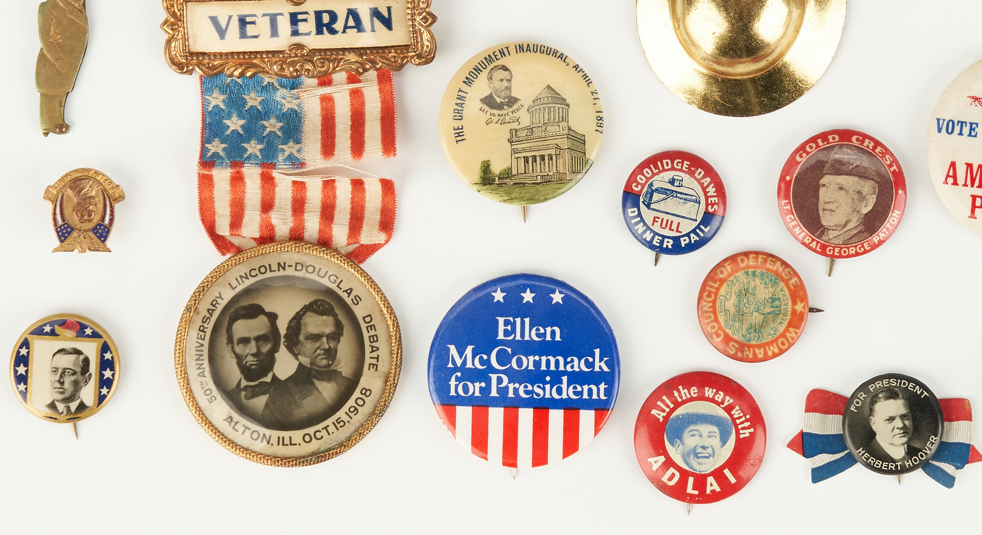 Lot 1022: 23 Political Related Ephemera Items, incl. Ford Button 1976
