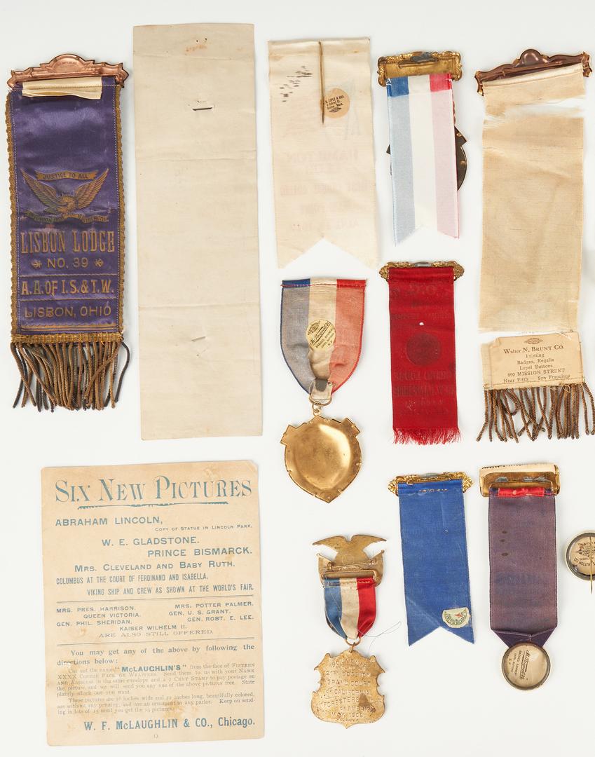 Lot 1025: 35 Masonic, Columbus & Independence Day Ribbons, Pins