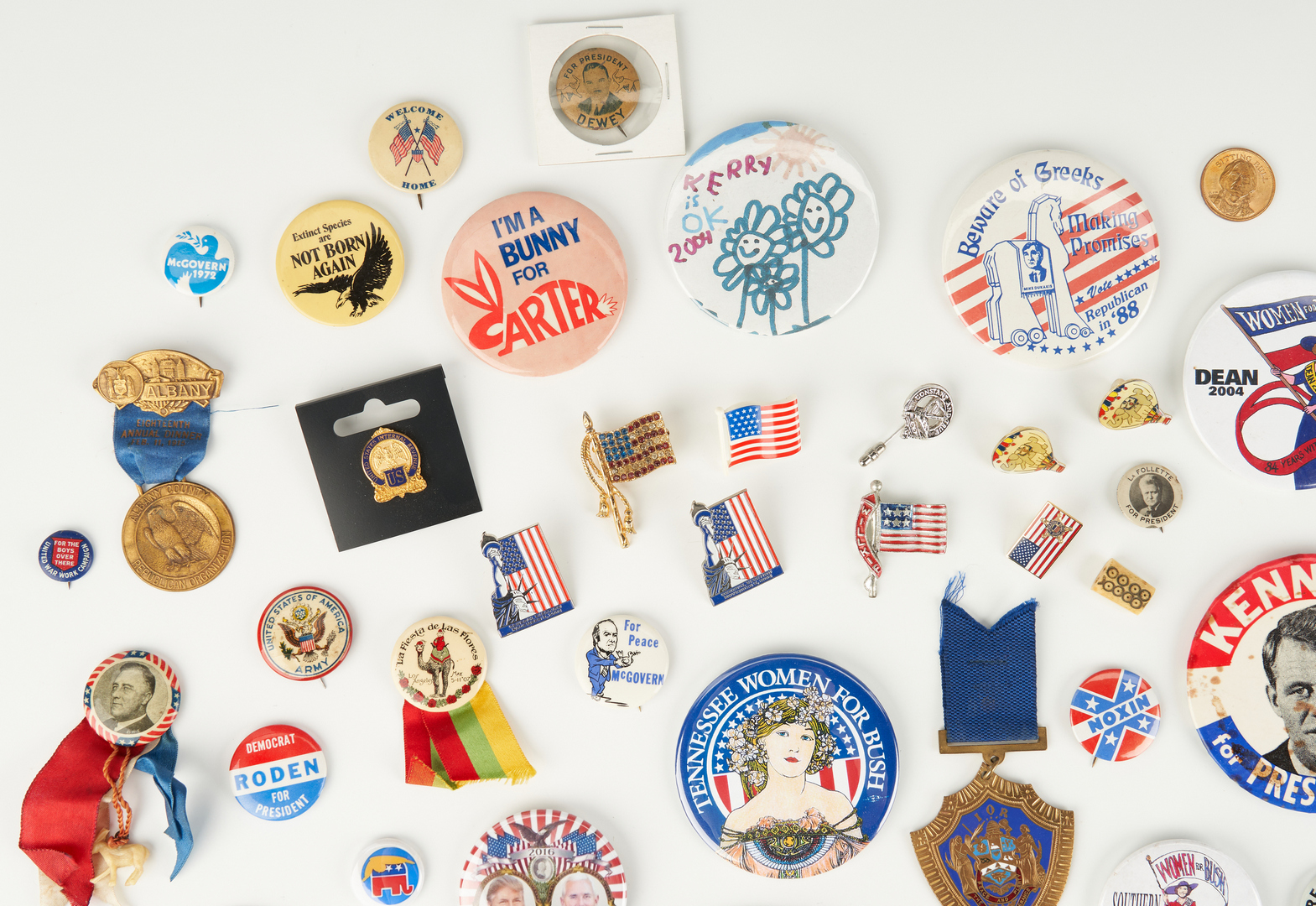 Lot 1026: 79 Political Ephemera Items, incl. Presidential Campaign Buttons