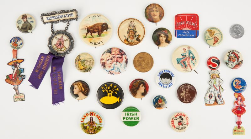 Lot 1027: Advertising Ephemera Items, incl. Buttons