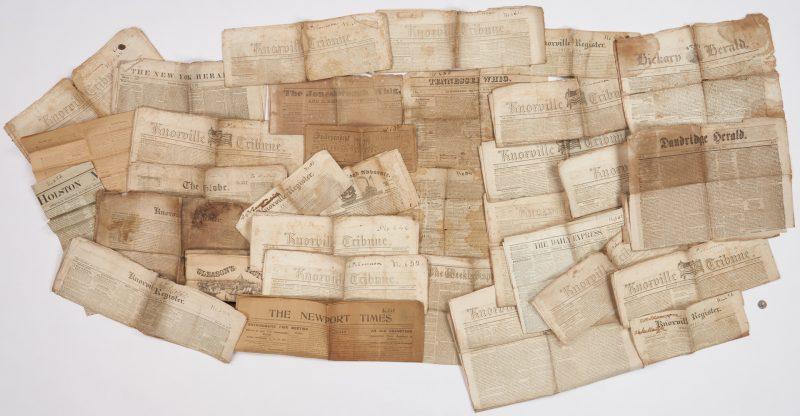Lot 1028: 31 Pre Civil War Newspapers, incl. Brownlow Whig
