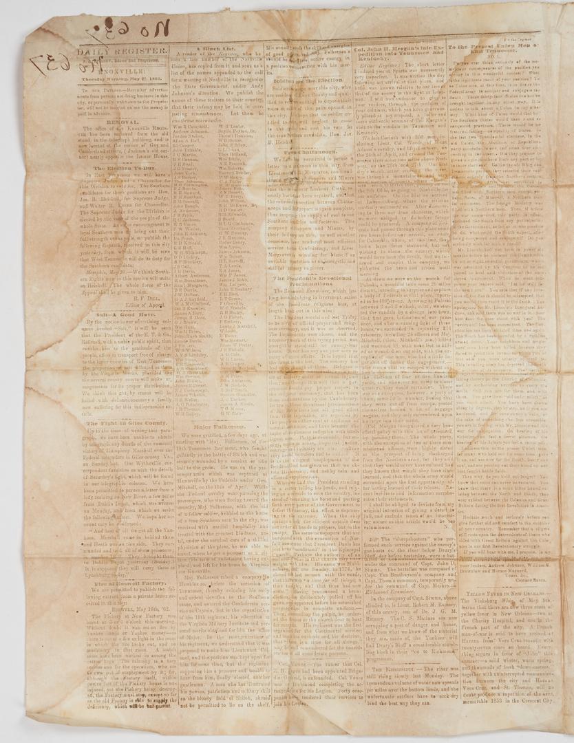 Lot 1029: Group Civil War Publications incl. TN Newspapers