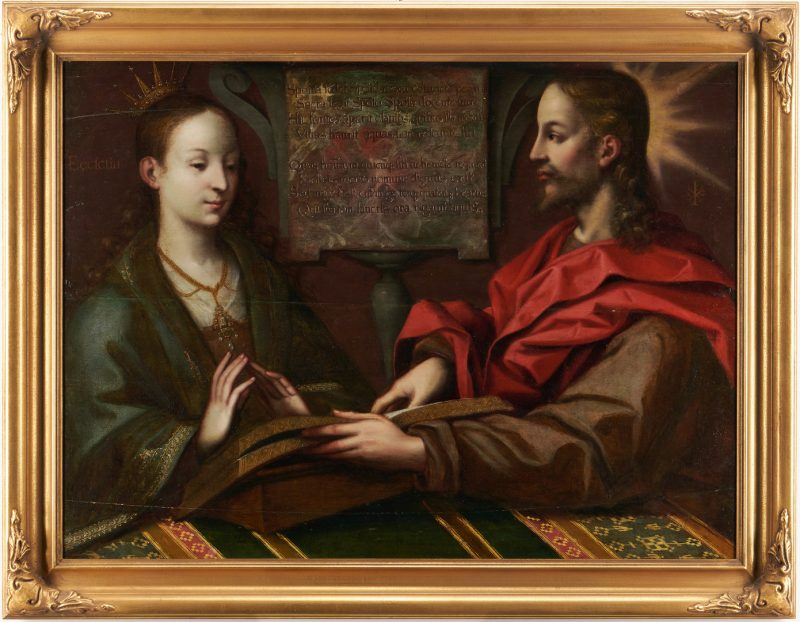 Lot 102: Flemish School Old Master O/B, Christ and The Virgin