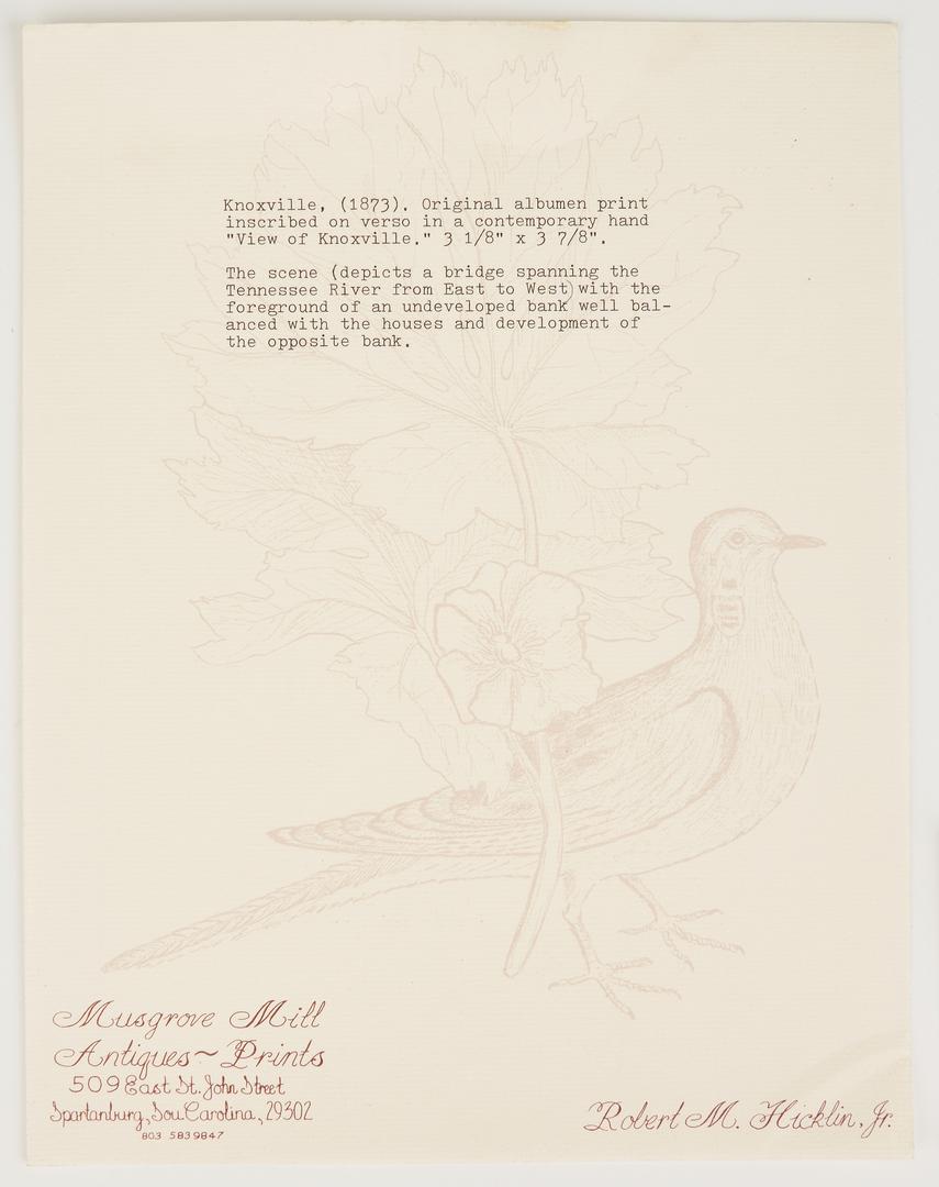 Lot 1032: 19th Century Albumen Print of Knoxville, TN