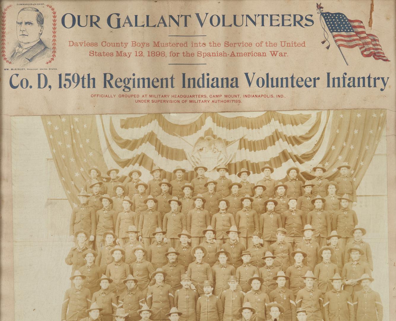 Lot 1034: Spanish-American War Archive, 159th Reg. IN Vol. I