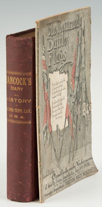 Lot 1036: 2 Civil War Related Books, incl. Hancock's Diary