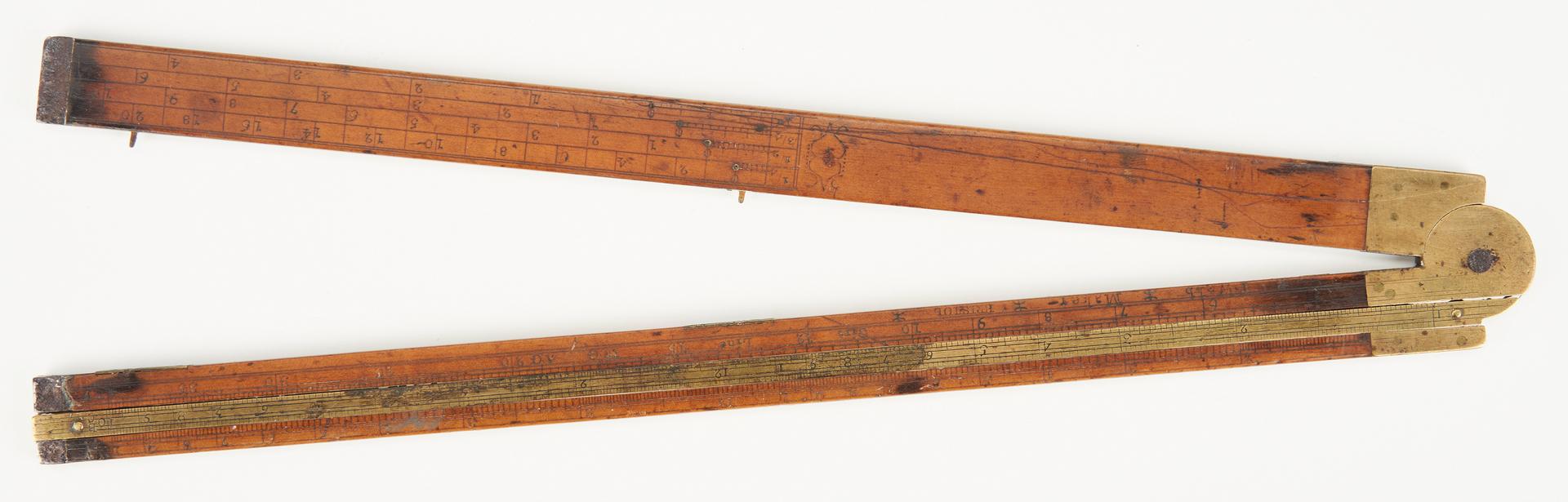 Lot 1044: 2 Early Slide Rules, George III Perpetual Calendar, 3 items