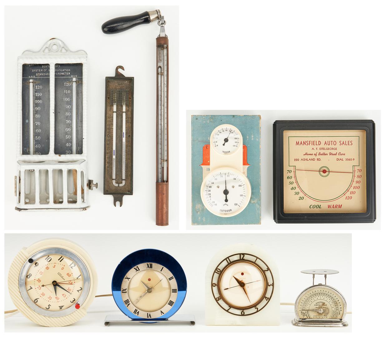 Lot 1048: 8 American Clocks & Weather Gauges, 9 items