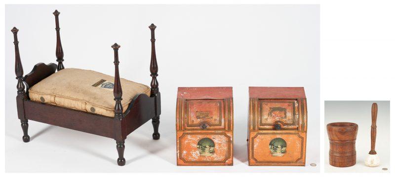 Lot 1050: Pr. ToleTea Bins, Salesman's Mattress & Mortise w/ Pestle