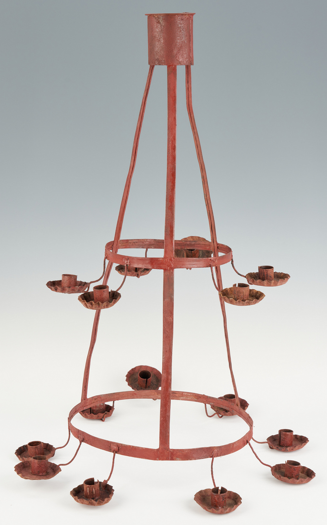 Lot 1051: Painted Tin Primitive Chandelier and Candle Box