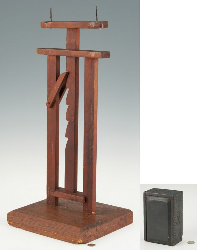 Lot 1052: Ratchet Candle Stand and Chip Carved Candle Box