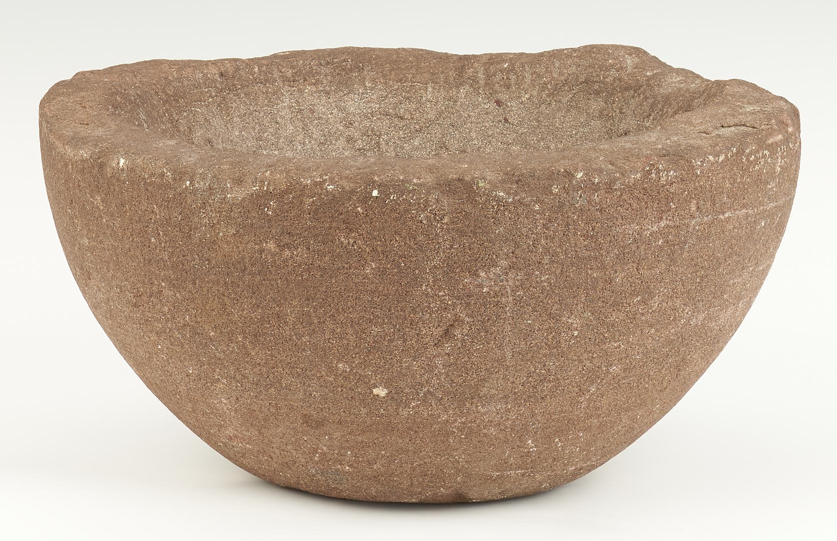 Lot 1054: Native American Mortar & Grinding Stone Pestle