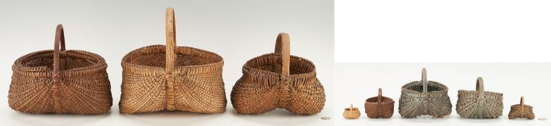 Lot 1055: 8 Southern VA Buttocks Baskets, incl. Miniatures
