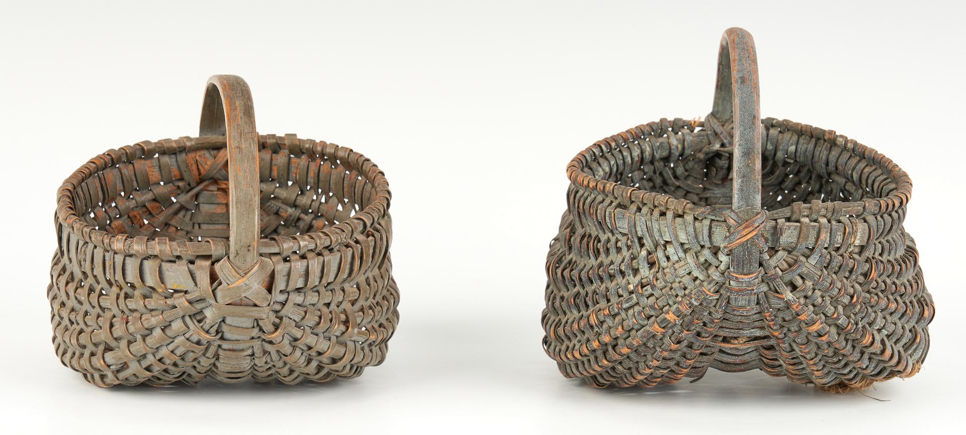 Lot 1055: 8 Southern VA Buttocks Baskets, incl. Miniatures