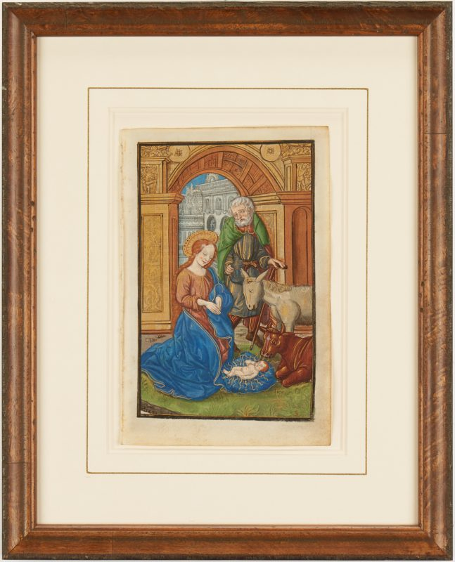 Lot 105: Illuminated Miniature Painting on Vellum, The Nativity