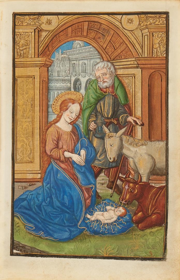 Lot 105: Illuminated Miniature Painting on Vellum, The Nativity